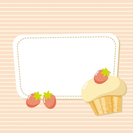 card with a picture of the cake with strawberries Vector