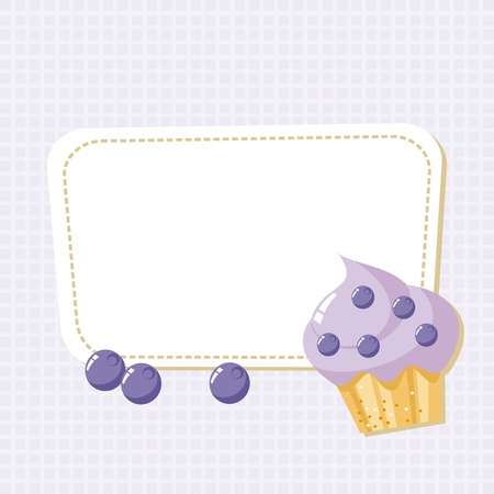 card with a picture of the cake with blueberries Vector