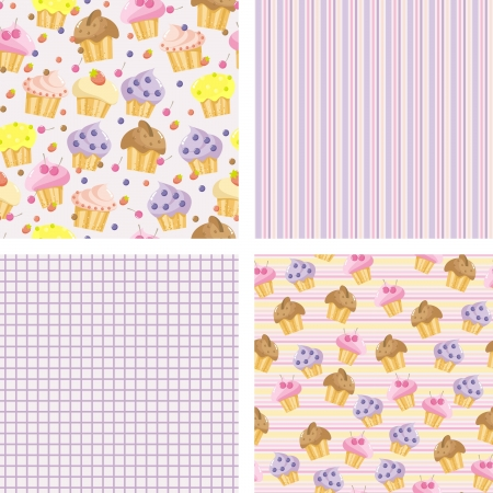 blueberry muffin: set of backgrounds with cakes for the scrapbook Illustration
