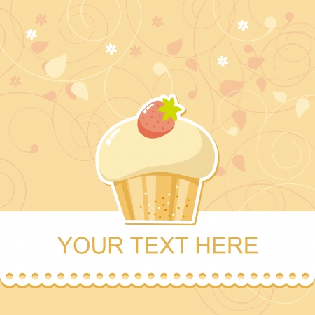 cute happy birthday card with cupcake,  illustration Vector