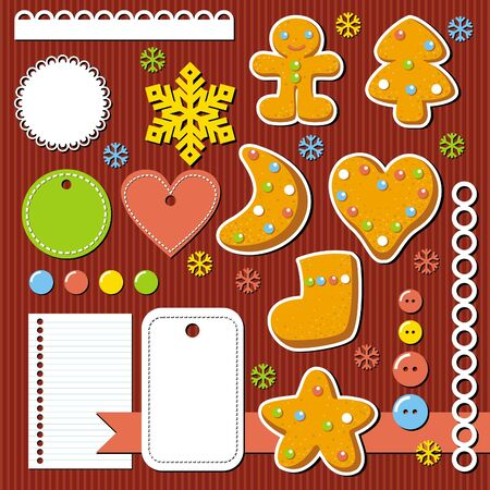 cute christmas elements for scrap-booking, illustration