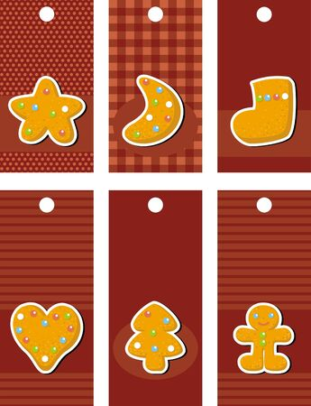 recipe background: set of labels with gingerbread, illustration