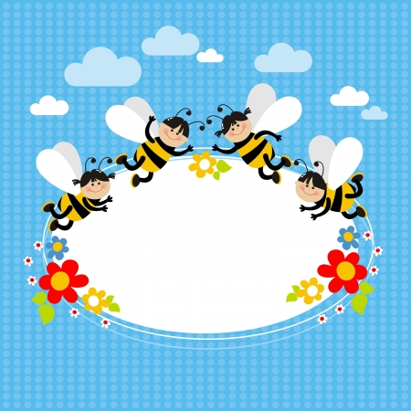 small, cheerful bees and flowers on a blue background Vector