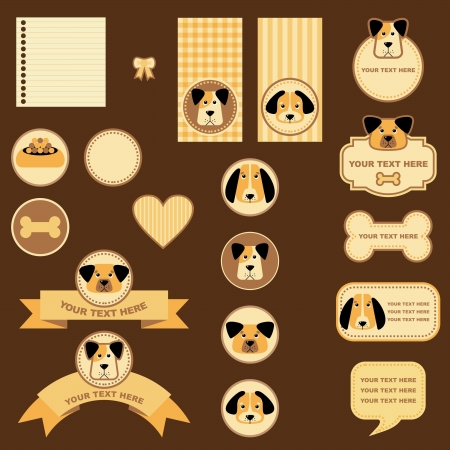 dogs play: tags and labels with dogs Illustration