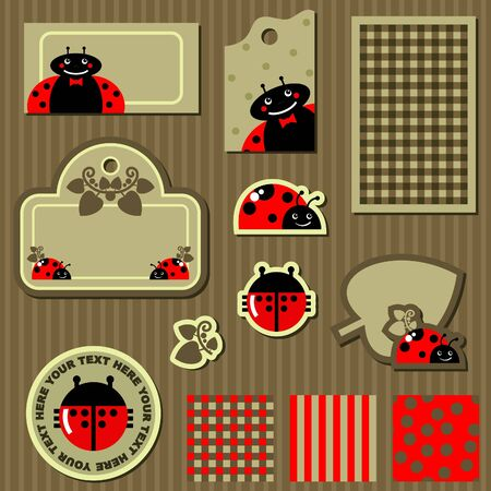 set of elements for scrapbook with ladybug Stock Vector - 17192604