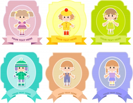 set of vector stickers with children, vector illustration Vector