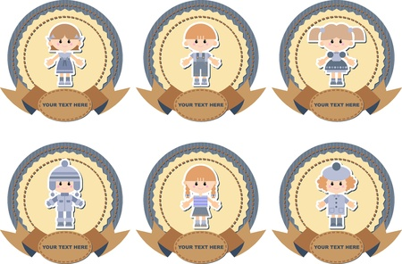 set of labels on jeans background with children Vector