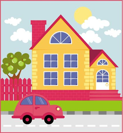 facade building: A graphic illustration of the house on the street background Illustration