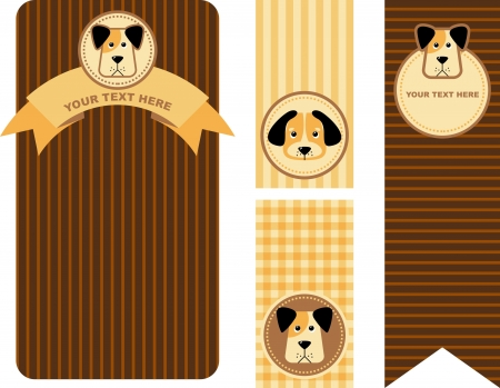 animal  tag with funny cartoon dog,  illustration Vector