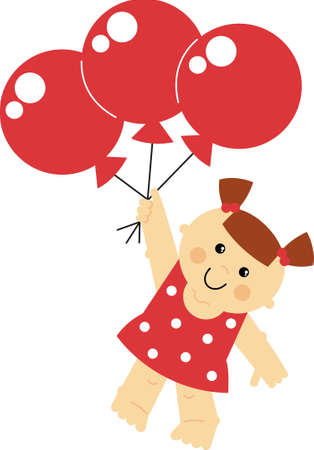 takeoff: sweet and funny girl flying on balloons
