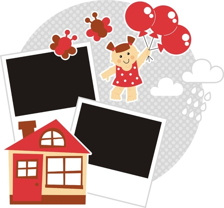 rain window: sweet and funny girl flying on balloons