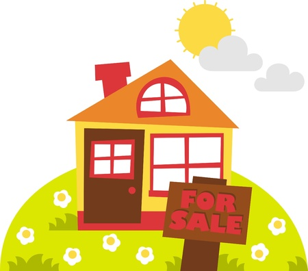 spring sale: house for sale Illustration
