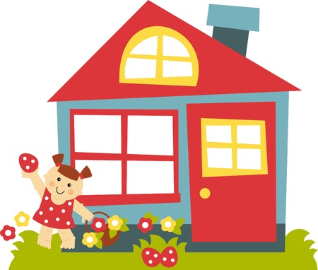 home clipart: cute and funny girl looking for easter eggs Illustration