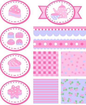tea party, set of backgrounds, tags and borders Vector