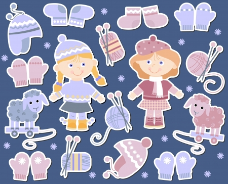 hank: collection of knitted hats, socks, mittens for girls
