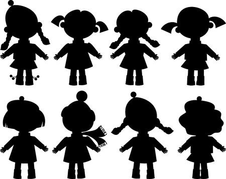 crowd happy people: dolls, little girl, black silhouette, isolated, vector