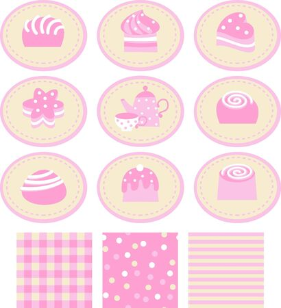 pattern with sweets, teapot and cup Vector