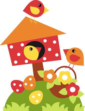 birdhouse for little birds, happy easter Stock Vector - 18150536