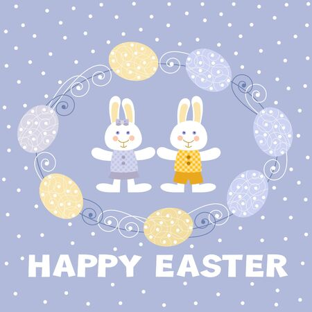 happy easter card, easter bunnies Vector