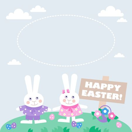 card with easter eggs and bunnies Vector