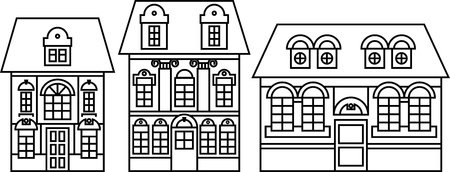 houses icons set Stock Vector - 18438435