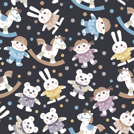 seamless baby background with toys Vector