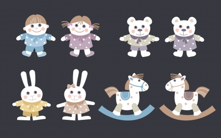 collection dolls and stuffed animal toys for kids Vector