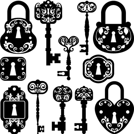 set of keys: silhouettes set of keys, keyhole  and locks