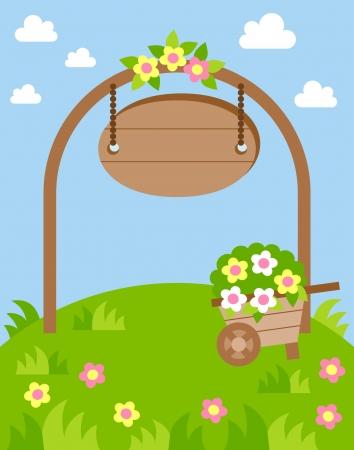 flower garden with arch and a wheelbarrow Vector