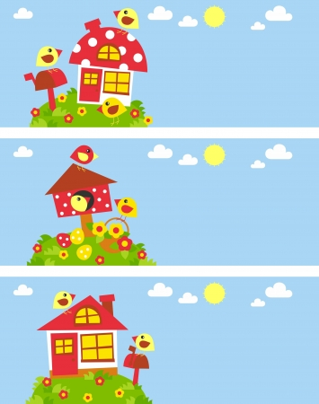 house fly: funny baby banners with birds and houses Illustration