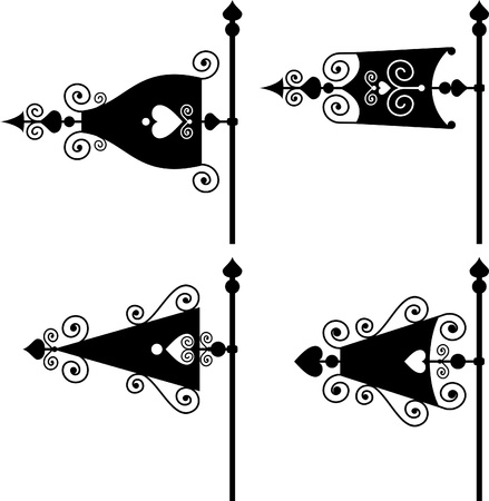 set of vector silhouettes of weather vanes  Illustration