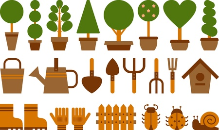 potted: set of garden tools and topiary in terracotta pots Illustration