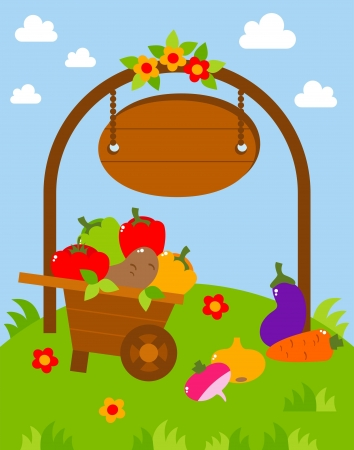 natural arch: card with a crop of vegetables,  illustration