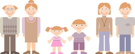 parent and teenager: illustration of multi-generation family Illustration