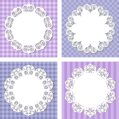 lace napkins on different backgrounds, illustration Vector