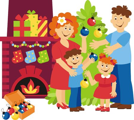 the family decorates the christmas tree Stock Vector - 19053125