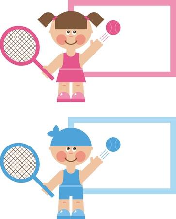 niños con pancarta: deportes de los niños s, el juego de tenis
