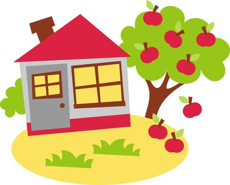 the harvest in the autumn - apple tree Vector