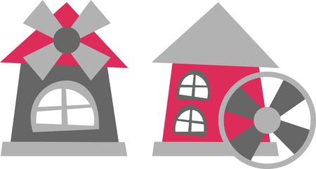 watermill: mill – vector illustration, mill tower and water mill