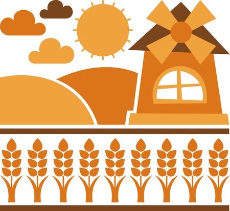 grain fields: mill field grain – vector illustration, windmill and fields of grain