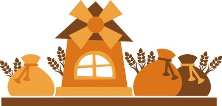mulino per cereali - illustrazione vettoriale, il mulino a vento e sacchi di farina