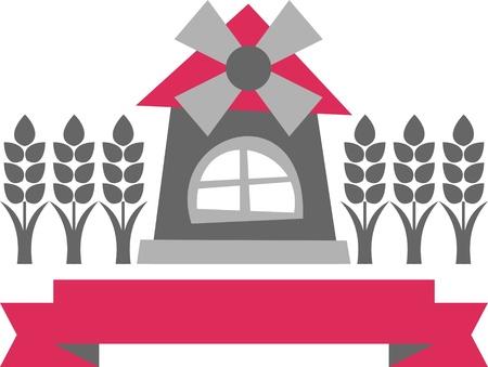 millstone: mill sign – vector illustration, windmill and grain, symbol sign
