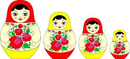 russian nested dolls: matryoshka, russian souvenir Illustration