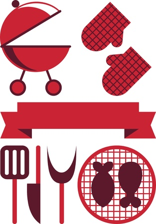 kitchener: grill vector illustration, barbecue grill vintage for summer holidays