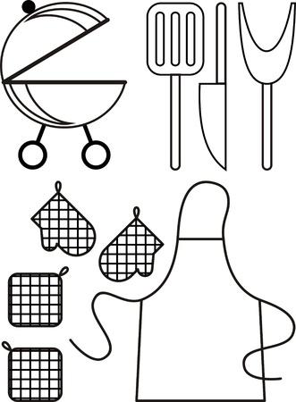 kitchener: grill illustration, barbecue grill vintage for summer holidays
