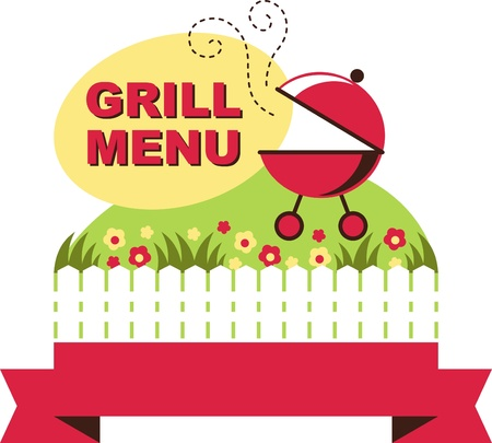 grill menu  illustration, barbecue grill vintage for summer holidays Vector