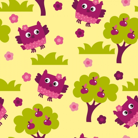 seamless background of birds owl Vector