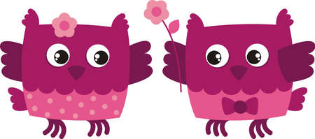 bird owl, declaration of love Vector