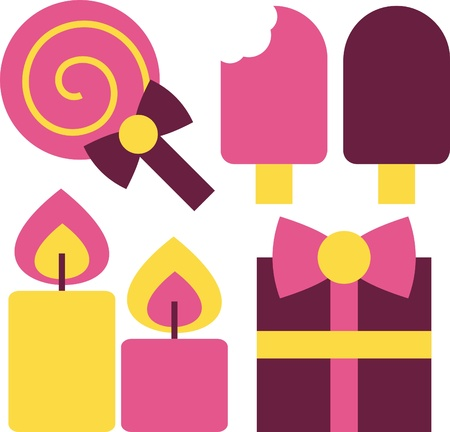 lollipop, ice cream, candle, gift for holiday Vector