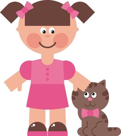 なでる: 少女猫図では、小さな女の子と彼女の猫を歩く